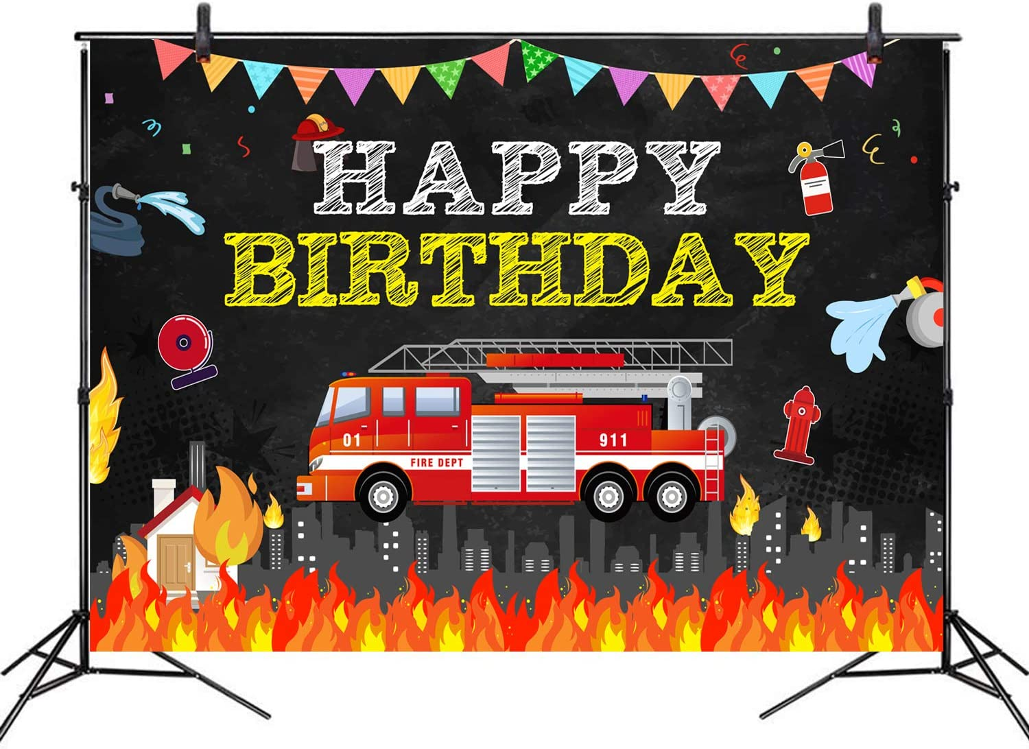 7 x 5 ft Fire Truck Theme Happy Birthday Photography Backdrop for Baby Boy Happy First Birthday - Baby Shower - Fireman Birthday Backdrop Video Shoot Studio Prop Wallpaper Indoor Outdoor Party Decorat