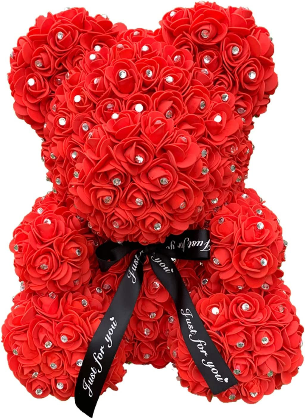 Rose Teddy Bears Accented with Rhinestones