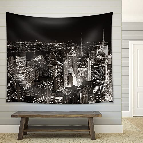 wall26 – New York City Midtown Skyline Panorama with Skyscrapers and Urban Cityscape at Night. – Fabric Wall Tapestry Home Decor – 68×80 inches
