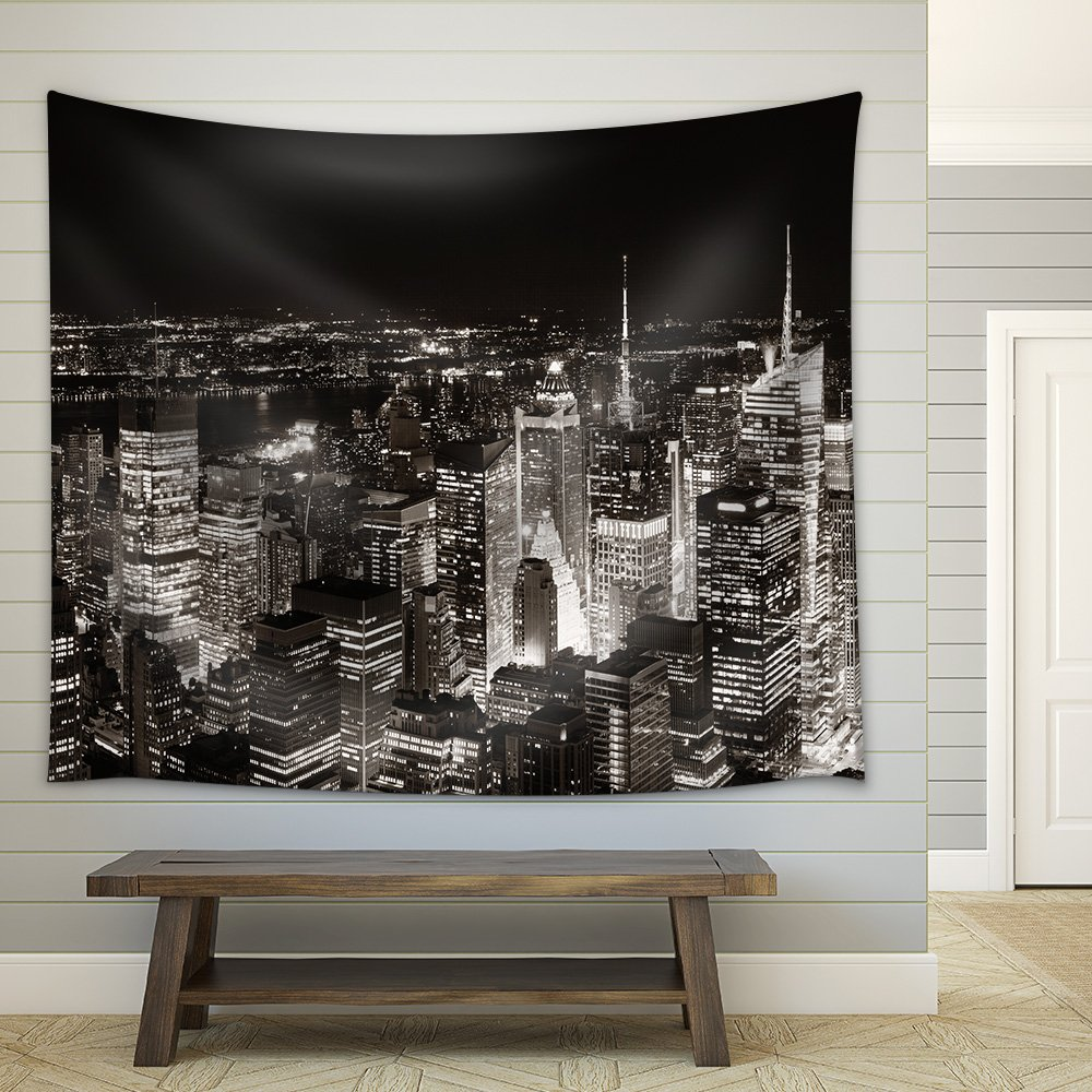 wall26 - New York City Midtown Skyline Panorama with Skyscrapers and Urban Cityscape at Night. - Fabric Wall Tapestry Home Decor - 51x60 inches