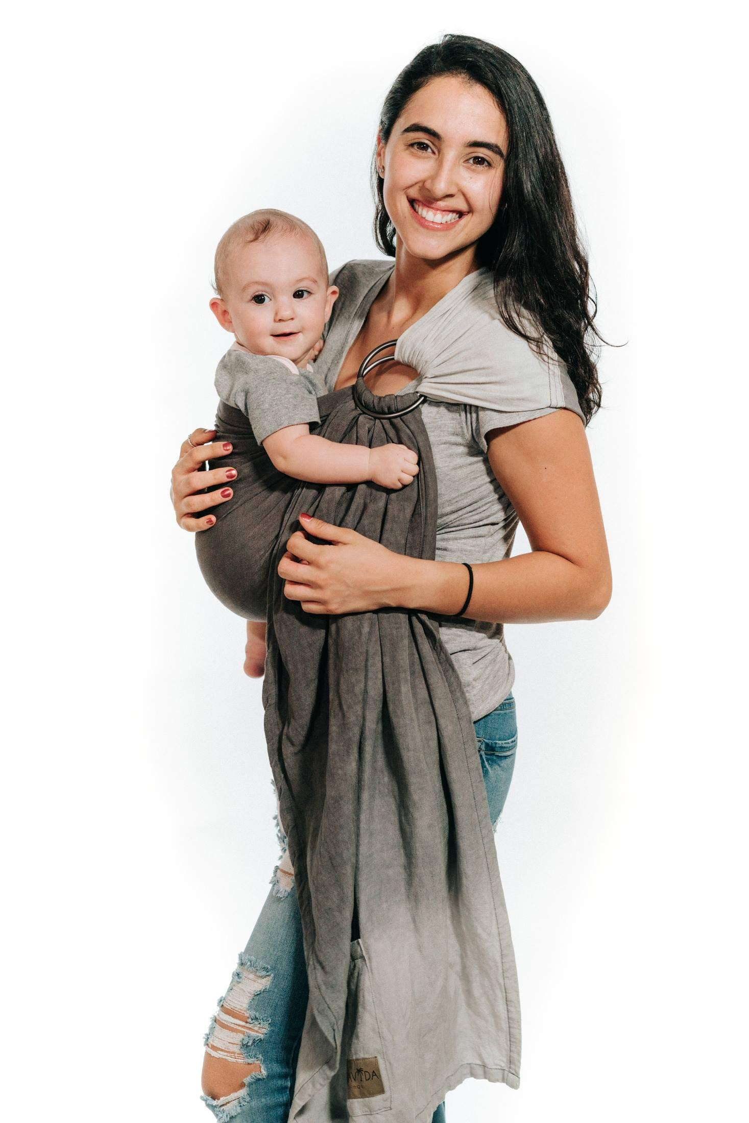 Luxury Ring Sling Baby Carrier – Extra Soft Bamboo & Linen Fabric, Full Support and Comfort for Newborns, Infants & Toddlers - Best Baby Shower Gift - Great for Men Too (Storm Cloud)