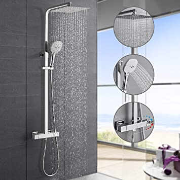 Duschsystem mit Thermostat Duscharmatur Duschset Regendusche Handbrause Dusche