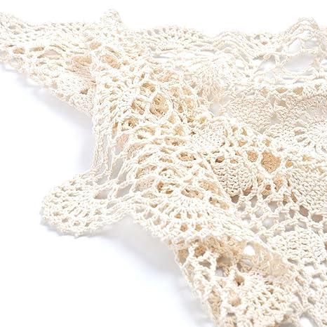 Yazi Vintage mantel toalla de mano), diseño de flores de ganchillo sofá beige cuadrado 60 cm: Amazon.es: Hogar