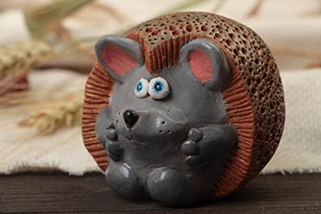 Amazon Com Designer Painted Clay Figurine Hedgehog Handmade