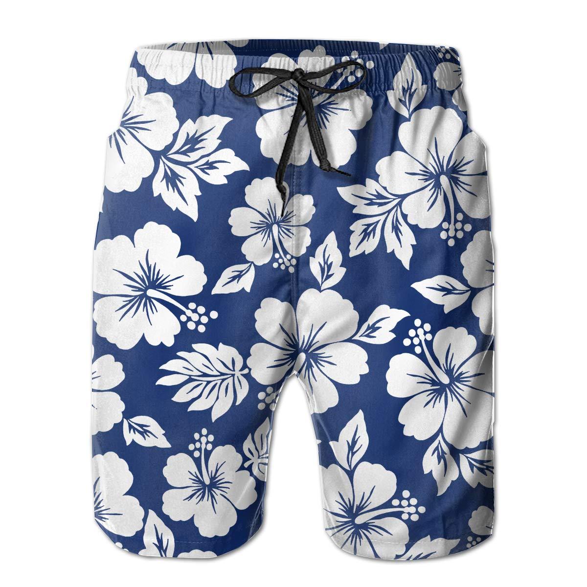 HHHDAM Blue Hibiscus Flower Mens Swim Trunks Board Beachwear Casual Beach Shorts for Men with Mesh Lining