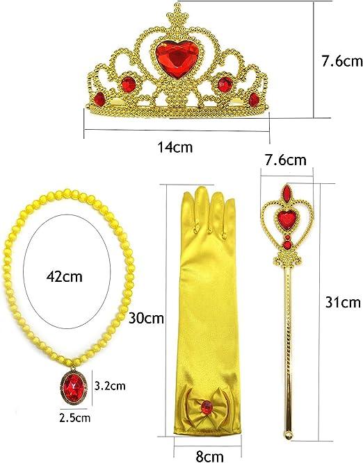 Blesiya Princess Belle Dress Costume Accessory Glove Wand Tiara Jewerly Set