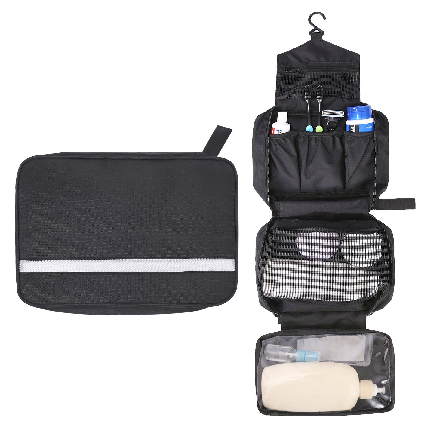 HDE Hanging Toiletry Bag Six Compartment Travel Kit for Men and Women Personal Care and Cosmetic Organizer Pouch with Mesh and Clear Pockets - Black