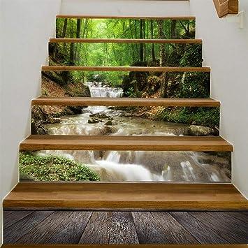 Escalera pared pintura vinilo Escalera calcomanía - Forest Brook cascada hermosa personalidad paso pegatina impermeable extraíble-A2: Amazon.es: Bricolaje y herramientas