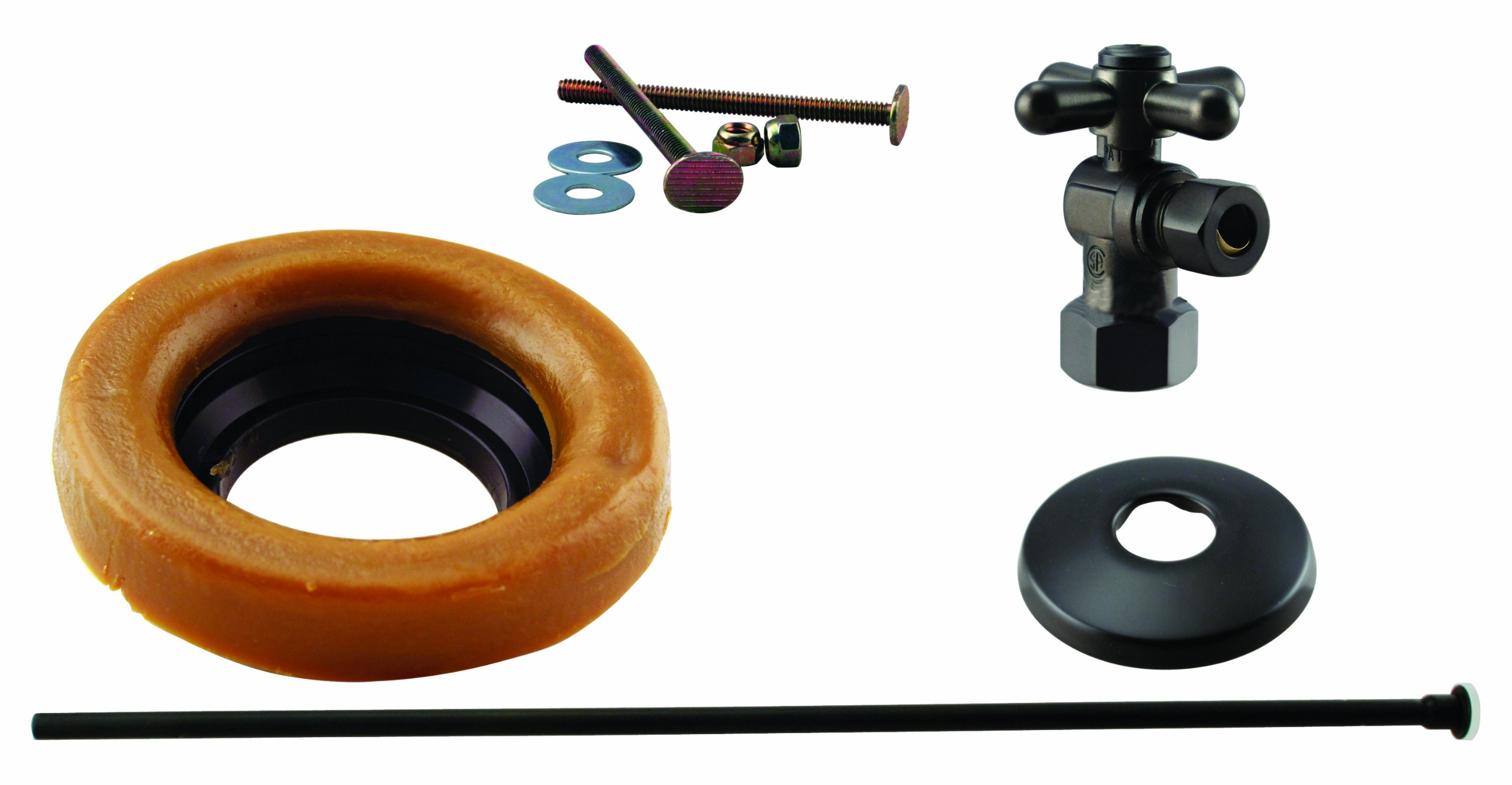 Westbrass Toilet Installation Kit with 1/4-Turn 1/2'' IPS Stop and Wax Ring with Cross Handle, Oil Rubbed Bronze, D1615TBX-12