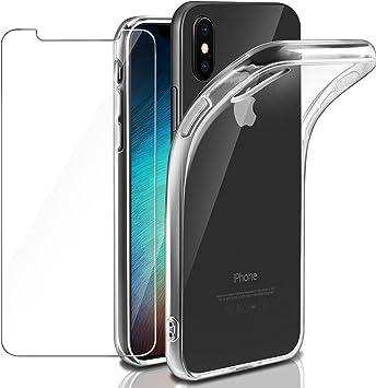 Coque iPhone XS/iPhone X Transparente Verre trempé écran Protecteur, Leathlux Souple Silicone Étui Protection Bumper Housse Clair Doux TPU Gel Case ...