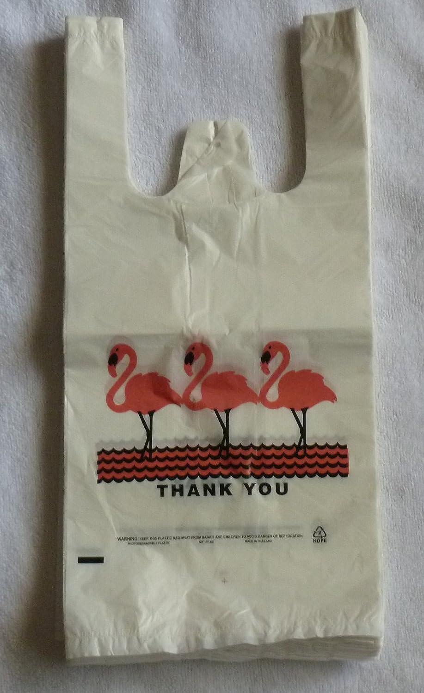 ホワイトFlamingo thank-you Tシャツショッピングバッグ( 6 x 3 x 13 - 13 Mic ) – 100バッグ B00LXD441E