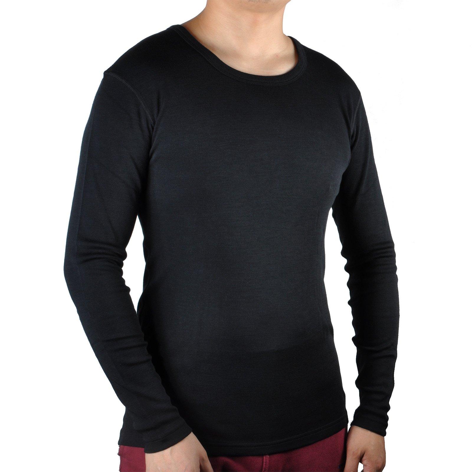 100% Merino Wool Men's Midweight Base Layer Thermal Underwear Tops Long Sleeve Crew (XL, Black)