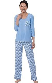 PajamaGram Cotton Womens Pajama Set for Summer, Light Blue Floral