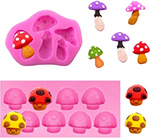 2 Pieces 3D Mushroom Shaped Silicone Mold Vegetable Keychain Silicone Mold Chocolate Candy Clay Mould for DIY Desserts Crystal Ice Cube Mould Handmade Cupcake Decor