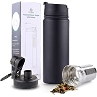 Sivaphe 17oz/500ml Insulated Flask with Removable Stainless Steel Tea Infuser, Double Wall Vacuum Travel Mug (Black)