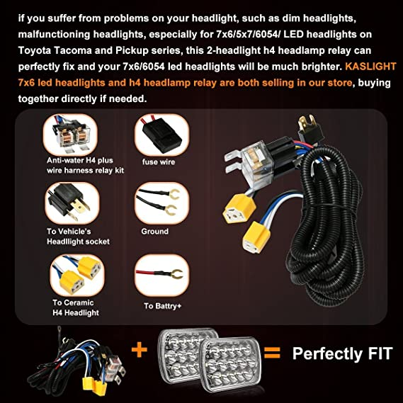 amazon com: 1set 2 headlight harness h4 headlight relay harness h6054 h4  relay harness toyota pickup headlights h4 wiring harness headlight relay  kit for