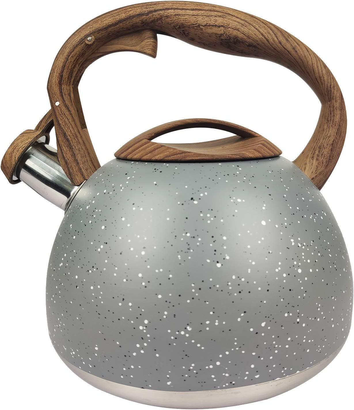 Lesirit Tea Coffee Kettle, 3.2Quart Audible Whistling Teapot with Anti-Hot Handle and Anti-Rust Food Grade Stainless Steel Teakettle for all Stovetops (Grey)