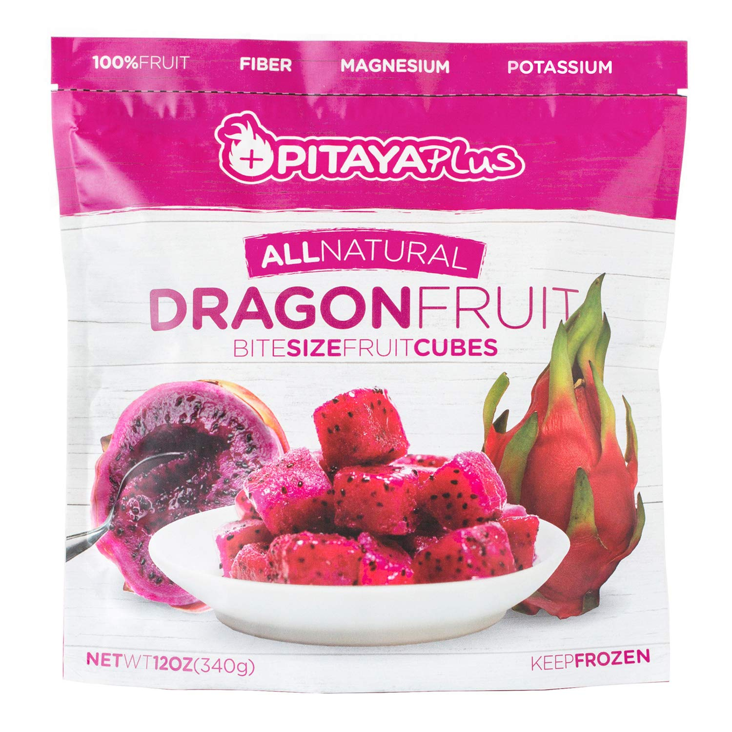 Pitaya Plus Natural Red Dragon Fruit Cubes. Frozen IQF Dragon Fruit Chunks that are a Good Source of Fiber, Magnesium, Potassium, Iron and More. 8 individual 12oz (340g) Packs.