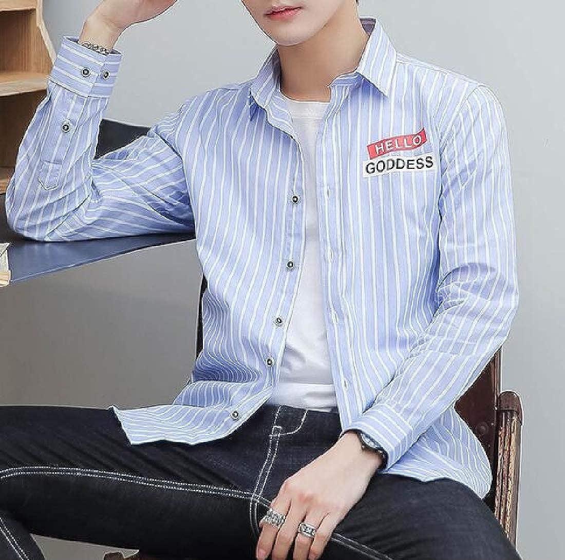 Cromoncent Mens Striped Top Long Sleeve Cotton Slim Fit Shirts