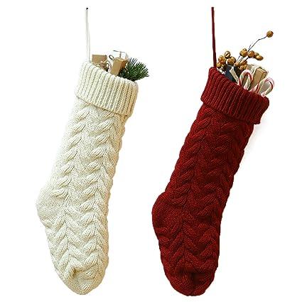 JaosWish Calcetines de Navidad de Punto 46 cm, Color Blanco y Rojo, para Colgar