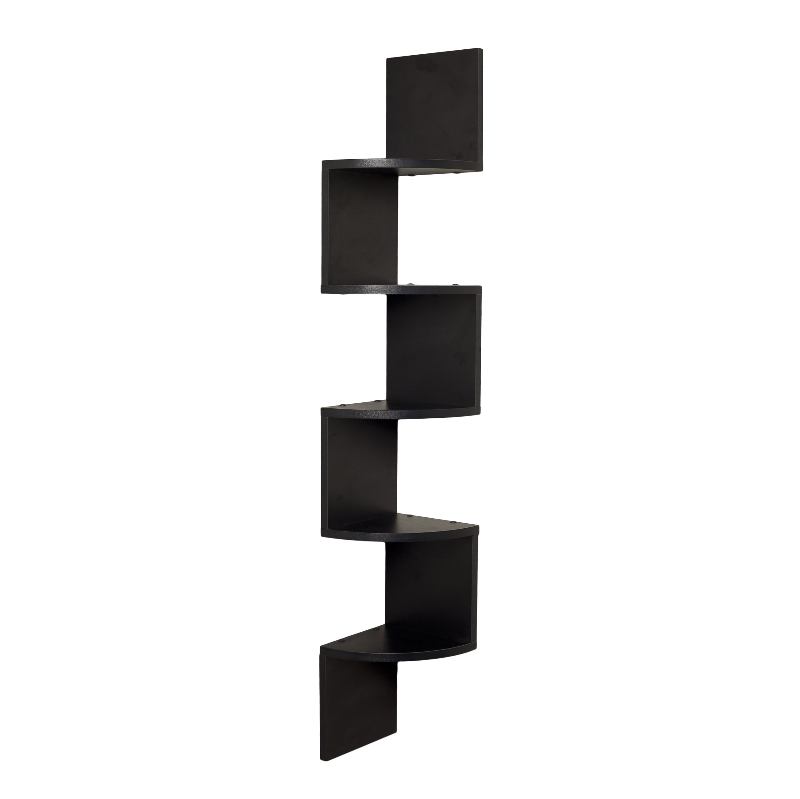 Danya B. XF11035BK Large Decorative 5-Tier Corner Floating Wall Mount Display Shelving Unit - Black by Danya B
