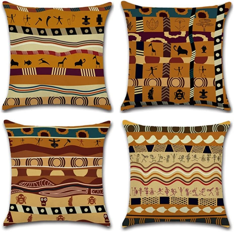 """YANGYULU African Pattern Cotton Linen Home Decorative Throw Pillow Case Sofa Cushion Cover 18"""" x 18"""" (Set of 4)"""