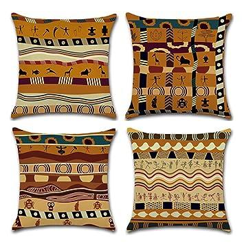 Amazon.com: YANGYULU - Funda de cojín de lino y algodón con ...