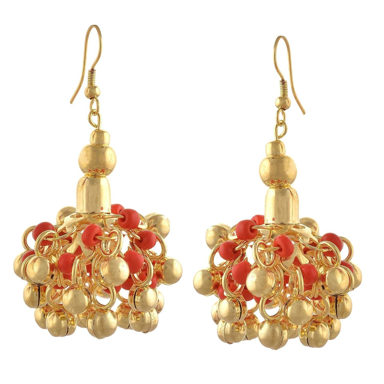 Oreleaa Jewellery Beaded Hook Jhumki Earrings with Magic Sound Bells For Girls