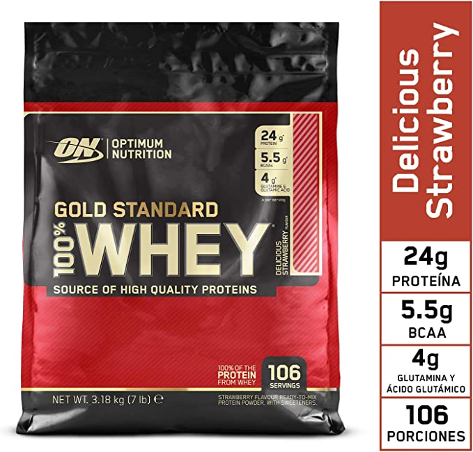 Optimum Nutrition Gold Standard 100% Whey Proteína en Polvo Suplementos Deportivos con Glutamina y Aminoacidos Micronizados Incluyendo BCAA, Fresa ...