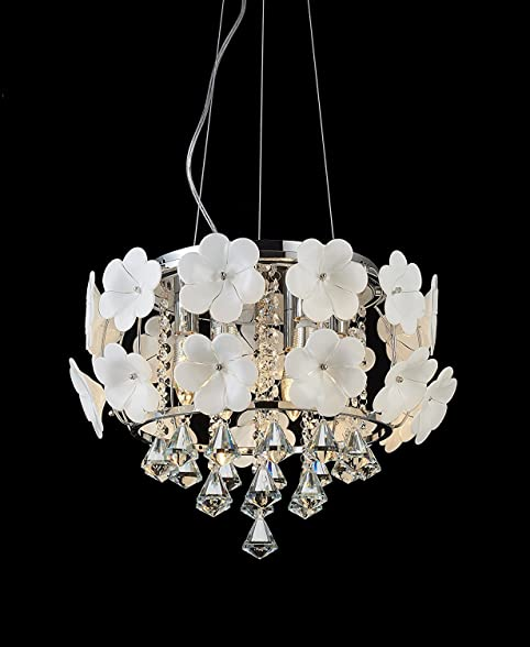 Lightess chandelier lighting modern crystal drop circular ceiling lightess chandelier lighting modern crystal drop circular ceiling pendant light decorated with white flowers 6 mightylinksfo