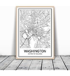 Amazoncom Washington DC Neighborhoods Map Black  White 22 x