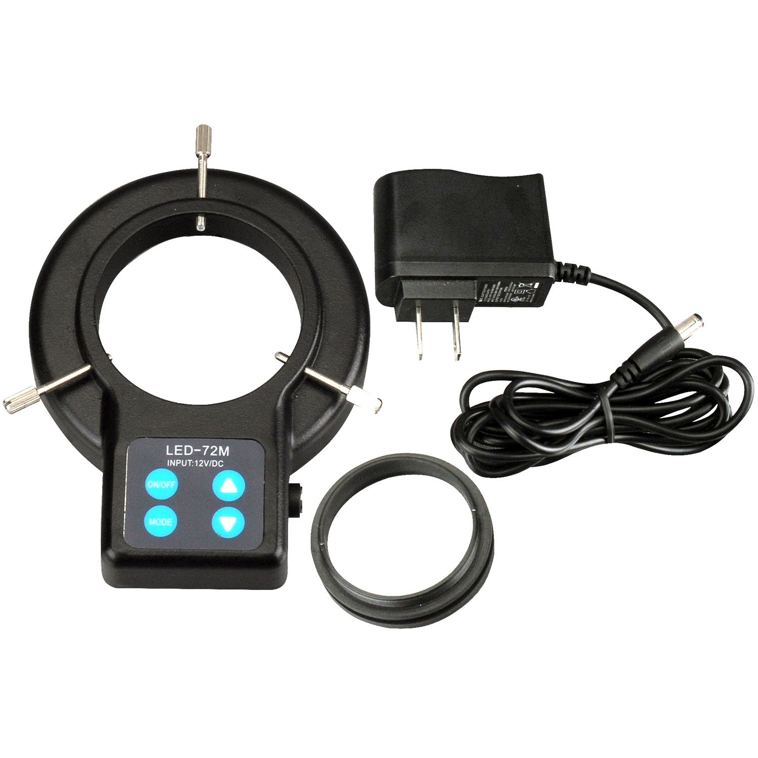 AmScope LED-72AM 72 LED Compact Four-Zone Microscope Ring Light Illuminator with Adapter