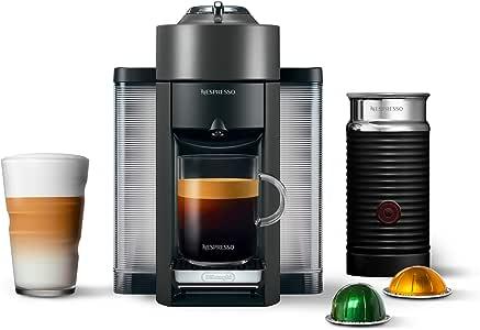 Nespresso Vertuo Coffee and Espresso Machine Bundle with Aeroccino Milk Frother by De'Longhi, Graphite Metal