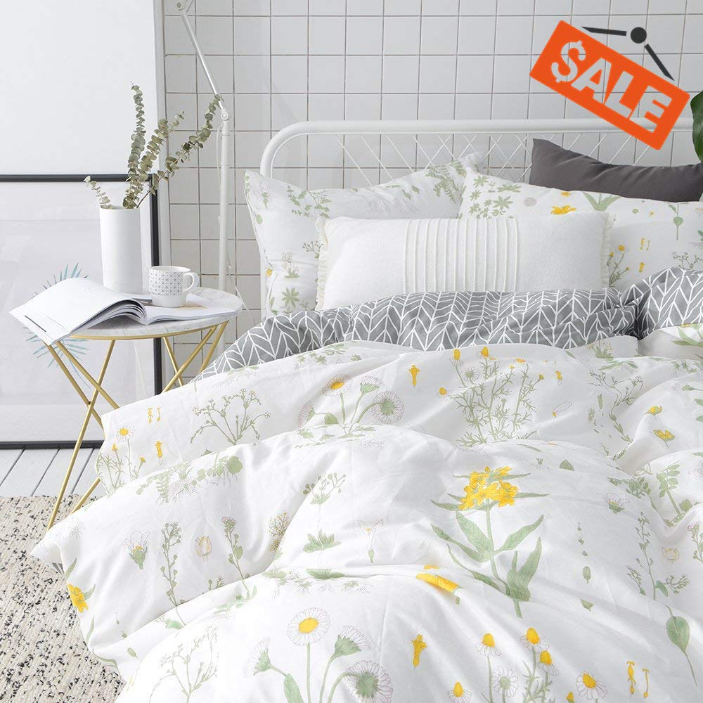 VCLIFE Floral Duvet Cover Sets Full Queen Bedding Sets White Yellow Flower Branches Design Bedding Duvet Cover Sets Cotton Comforter Cover Sets for All Season Queen by VCLIFE