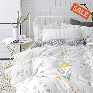 VClife Twin Floral Duvet Cover Sets Cotton Yellow White Botanical Bedding Sets for Girl Woman -Reversible Arrow Printed Grey Bedding Collection - 3 pcs Vintage Garden Plant Style Quilt Cover Sets Twin