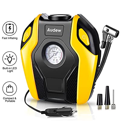 Audew Air Compressor Tire Inflator - DC 12V 150PSI Portable Tire Pump with Emergency LED Light, Auto Shut Off, Quality Air Pump for Car, SUV, Truck, Bicycle, Motorcycle and Other Inflatables: Automotive