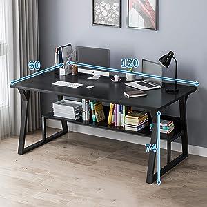 ASPZQ Computer Desktop Desk Home Bedroom Simple Modern Desk Bookshelf One Student Writing Desk Office Desk,C3,1206074CM