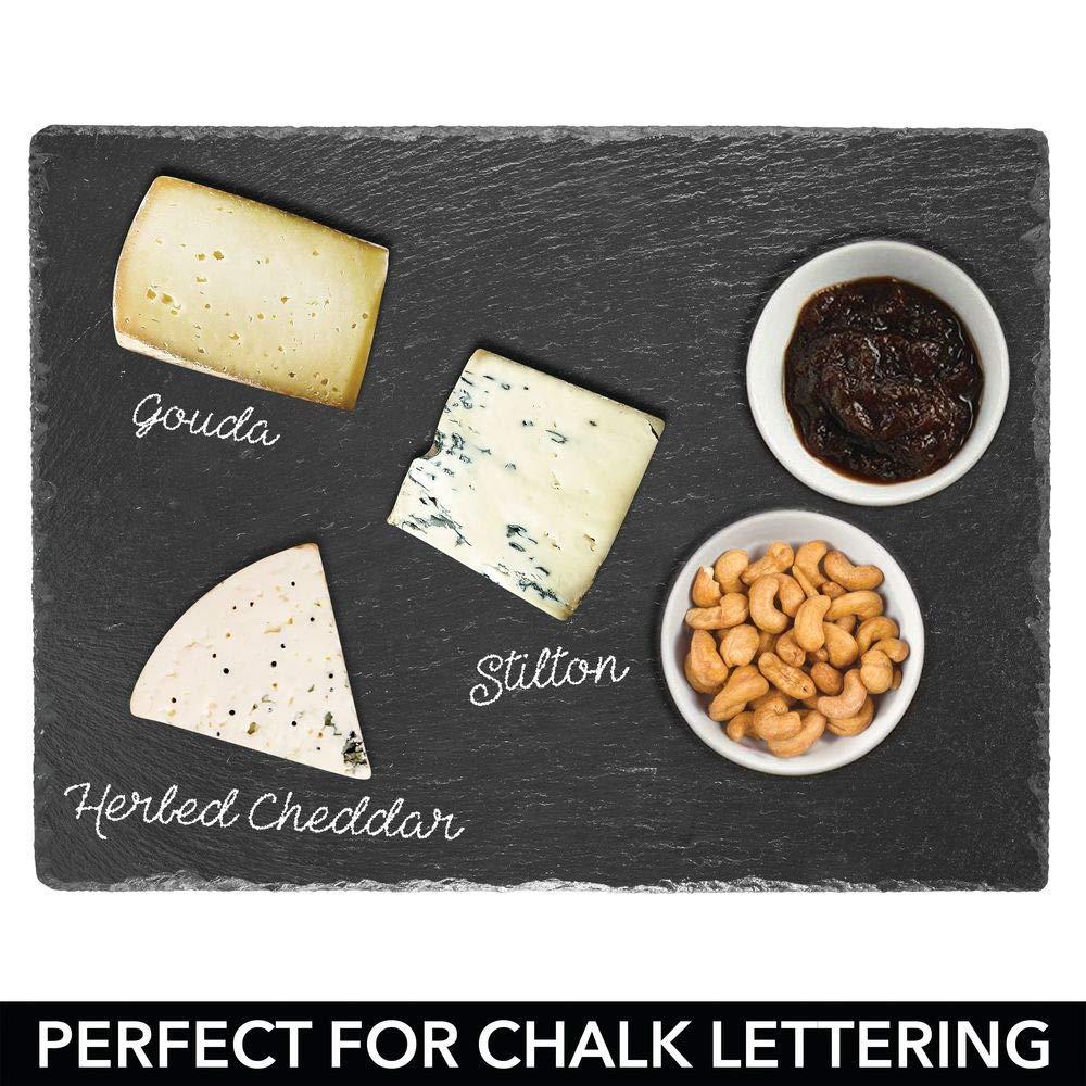 etc Bonita tabla de quesos /útil para embutidos negro mDesign Platos de pizarra con asas de acero aperitivos tartas Tambi/én sirve como pizarra de tiza para men/ús o anuncios
