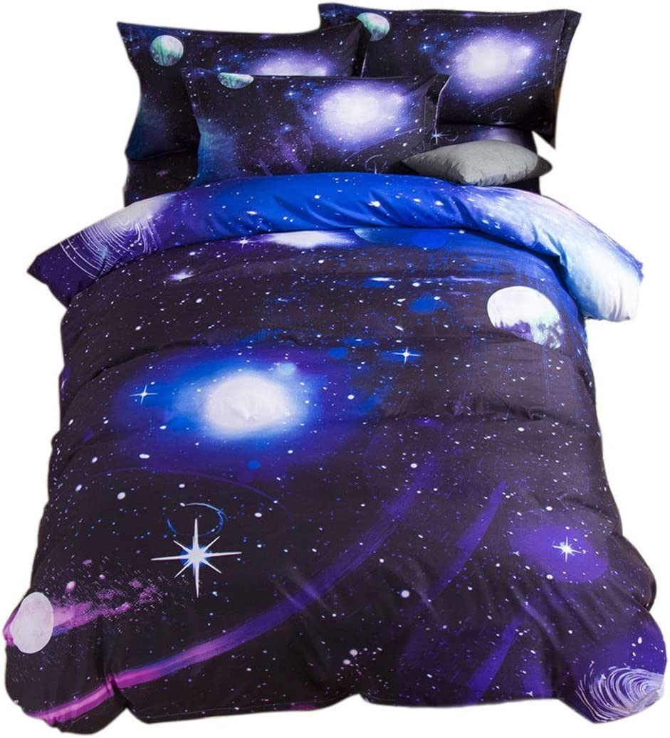 YOUSA 3d Blue Purple Galaxy Printing Bedding Set Starry Bedding Twin (06)
