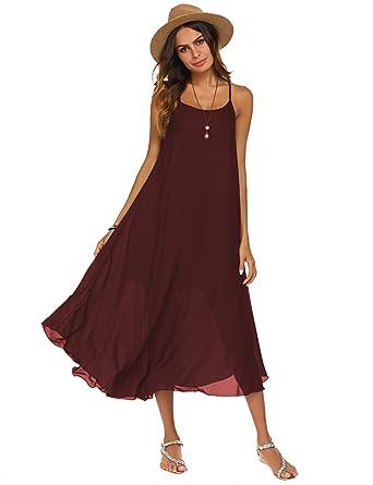 648cdad65b8c Poetsky Women's Strappy Casual Loose Boho Chiffon Halter Sleeveless Long  Maxi Beach Party Dress at Amazon Women's Clothing store: