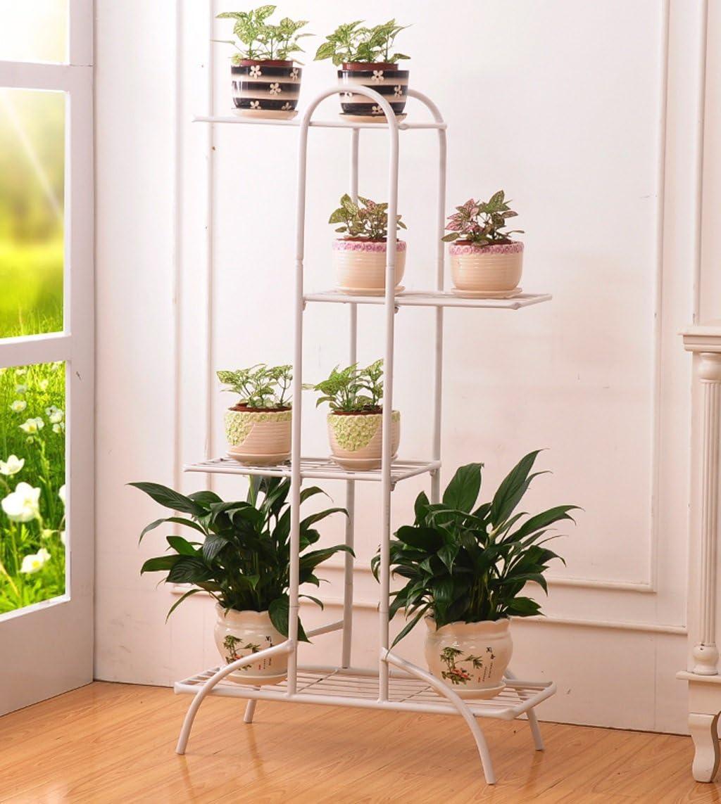 ZENGAI interior Macetero Soporte para macetas Flores Escaleras metal Soporte de exhibición Antióxido producto de hierro, 3 colores, 2 tamaños Jardinería (Color : Blanco, Tamaño : 54.5x99.5cm)