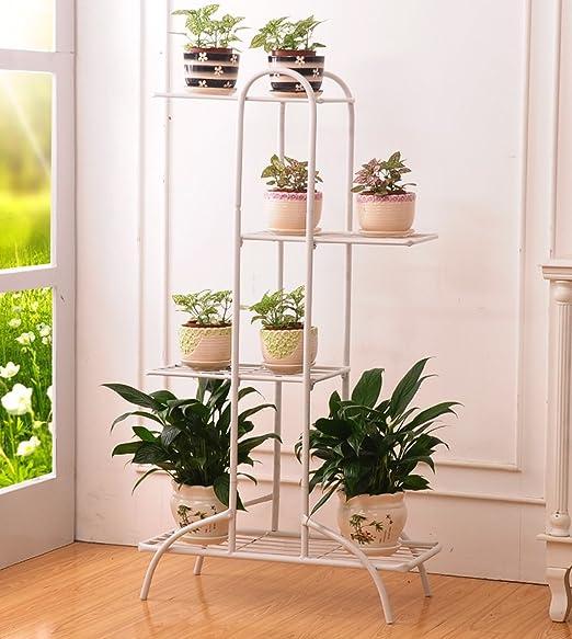 ZENGAI Interior Macetero Soporte para macetas Flores Escaleras Metal Soporte de exhibición Antióxido Producto de Hierro, 3 Colores, 2 tamaños Jardinería (Color : Blanco, Tamaño : 54.5x99.5cm): Amazon.es: Jardín