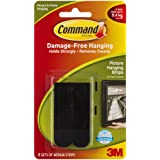 Command Medium Picture Hanging Strip, Holds 5.4 kg, No Drilling, Holds Strong, No Wall Damage (Black, 4 Pairs)