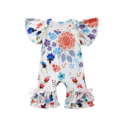 379a7129c0e Baby Girls Butterfly Sleeve Bodysuit Ruffle Romper Floral Jumpsuit Flares  Bell-Bottoms (0-