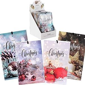 MYARO 12 Packs Scented Sachets for Drawer and Closet, Long-Lasting Christmas Sachets Bags Christmas Eve Home Fragrance Sachet 4 Scents Option- Lavender, Jasmine, Ocean, Gardenia