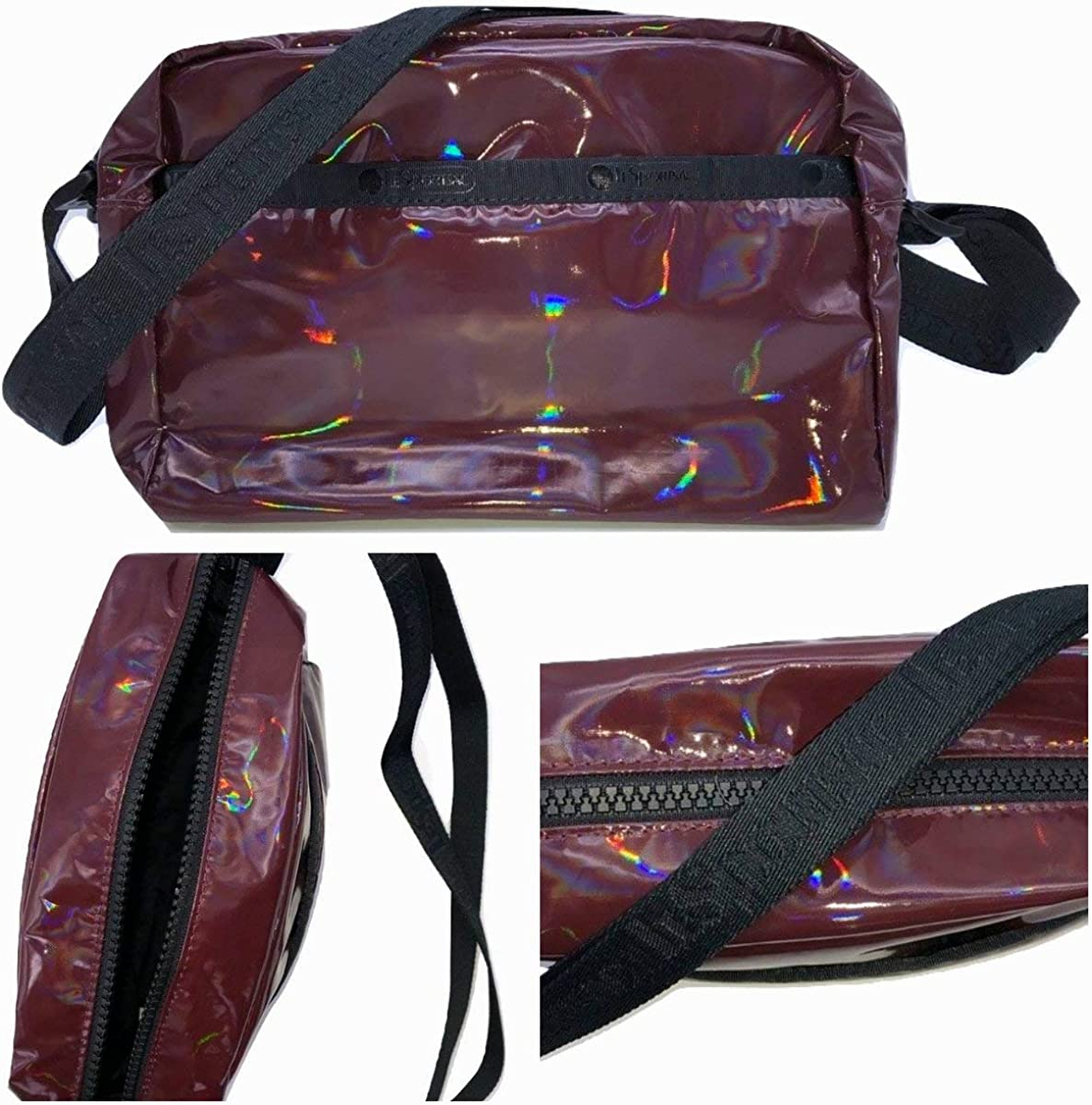 LeSportsac Polaris Dawn Daniella Crossbody Handbag, Style 2434/Color F434, Merlot/Burgundy Iridescent Patent Specialty Material, LeSportsac Logo Strap/Trim, Wide Black Zipper Detail