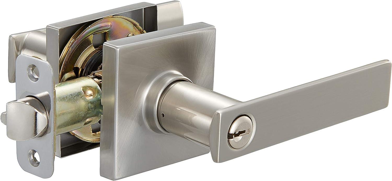 AmazonBasics Contemporary Stamford Door Lever with Lock, Entry, Satin Nickel