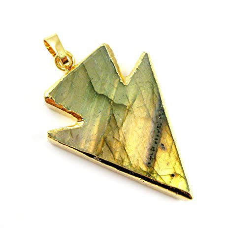 Amazon labradorite arrowhead pendant natural labdorite labradorite arrowhead pendant natural labdorite gemstone necklace pendant gold dipped gemstone aloadofball Image collections