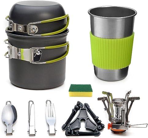 Juego de vajilla de Camping, Picnic Pot Utensilios de Cocina de Camping Vajilla de Camping para Acampar al Aire Libre Senderismo y Picnic
