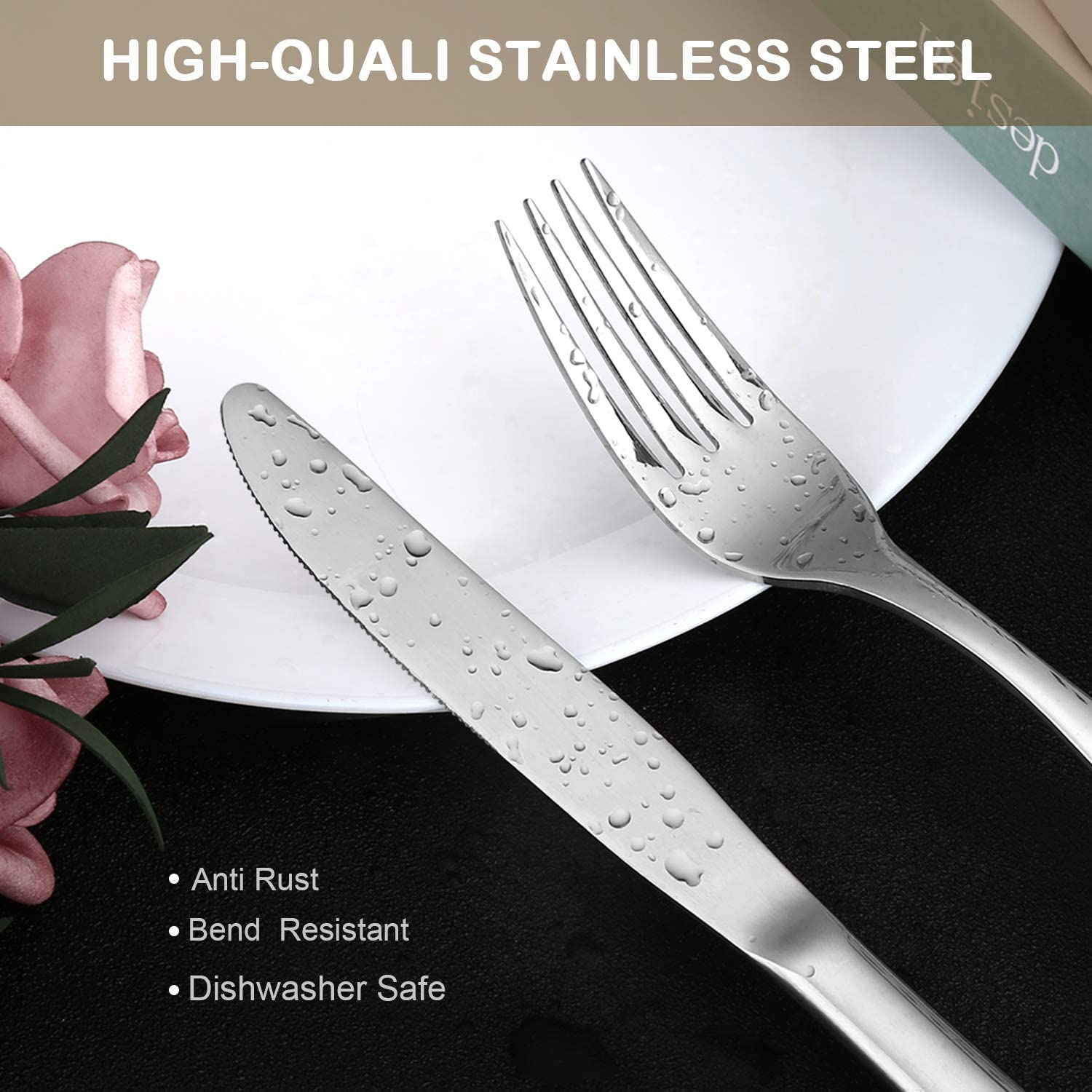 Black 20-Piece Black Flatware Silverware Set Heavy Duty Knifes//Forks//Spoons Stainless Steel Utensils Tableware Sets Service for 4 Dishwasher Safe and Easy to Clean
